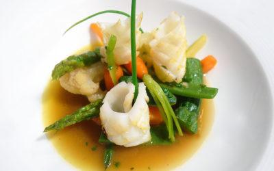 Salteado de verduras con calamar y su jugo