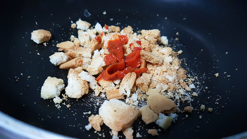 migas kimchi anguila ahumada receta