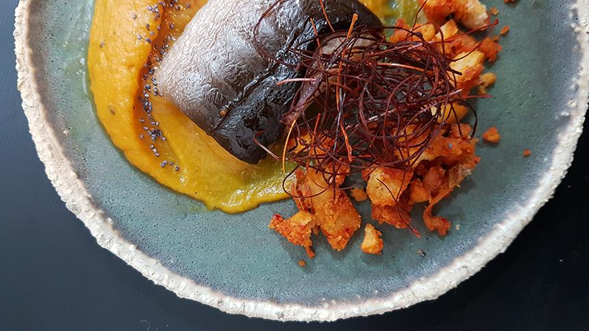receta anguila ahumada calabaza crema