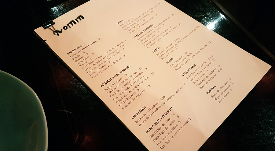 restaurante Nomm carta
